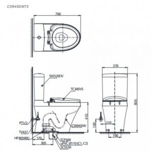 Bản vẽ kỹ thuật bồn cầu TOTO CS945DNT3
